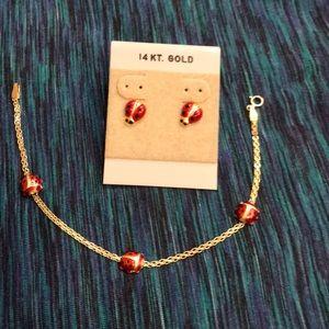 Jewelry - Ladybug earrings and necklace